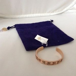 TORY BURCH Raised Logo Cuff Bangle Rose Gold